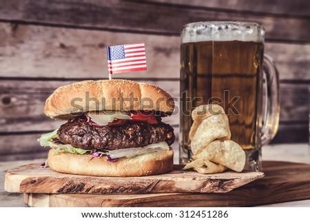 Craft Beer With Hamburger - stock photo