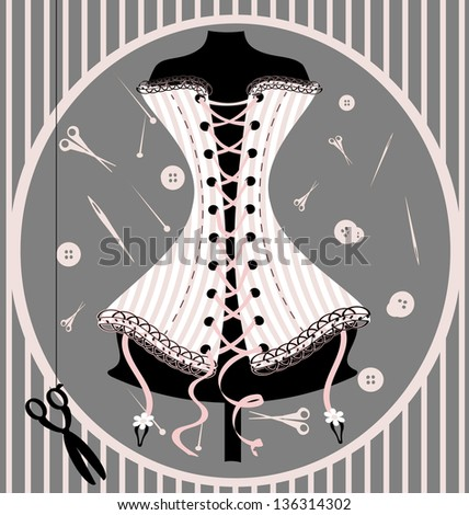 craft dummy and corset - stock photo
