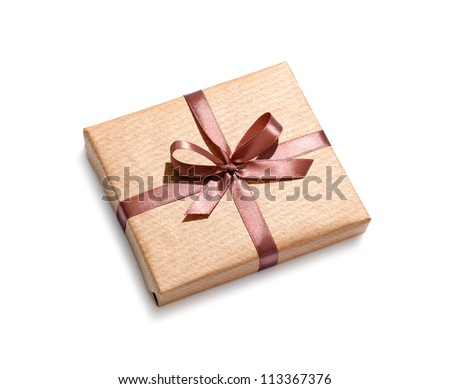 Craft gift box isolated on white background. - stock photo