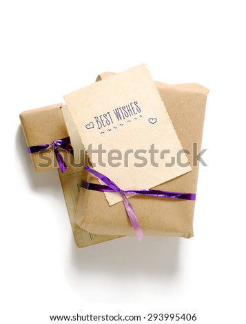 Craft gift boxes with greeting card for text