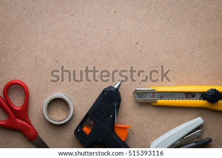 craft tools with paper vintage texture, background with space for text