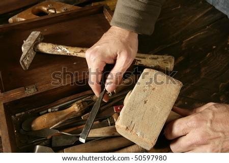craftsman carpenter hand tools artist craftmanship - stock photo