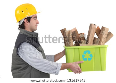 craftsman recycling wood - stock photo