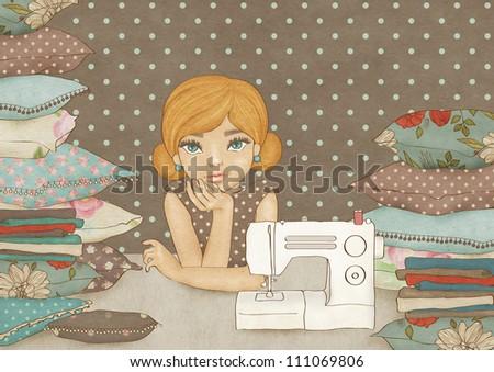 Crafty Girl - stock photo