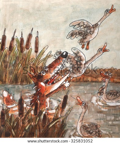 crafty red Fox catches ducks and geese flying up in the sky day morning river marsh lake reeds water area nature art watercolor - stock photo