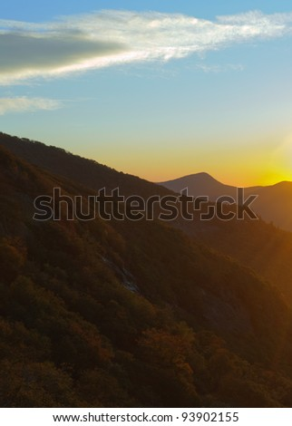Craggy Gardens overlook of mountains at sunrise