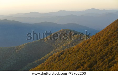 Craggy Gardens overlook of mountains at sunrise - stock photo