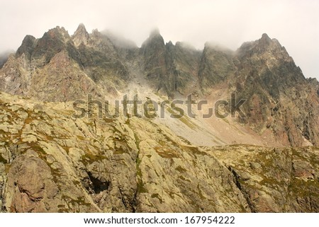 craggy peaks in Aiguilles Rouges Natural Park, France