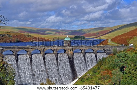 Craig Goch Dam in Autumn.  Elan Valley Wales. - stock photo