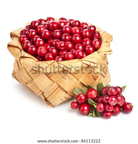 cranberries in basket box  isolated on white background - stock photo