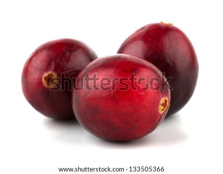Cranberries isolated on white background closeup - stock photo