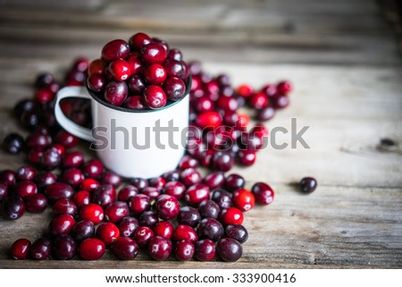 Cranberries on a mug on rustic wooden background - stock photo