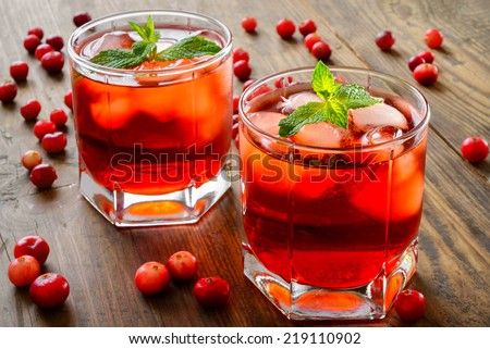 cranberry cocktail with ice and mint - stock photo