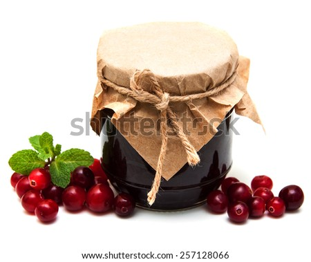 cranberry jam with fresh fruits on a white  background - stock photo