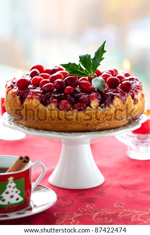 Cranberry Upside Down Cake for Christmas - stock photo