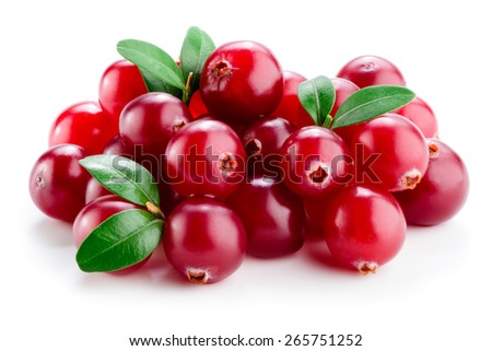 Cranberry with leaves isolated on white. - stock photo