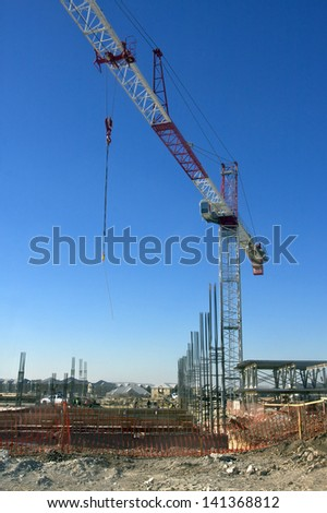 Crane and Foundation - stock photo