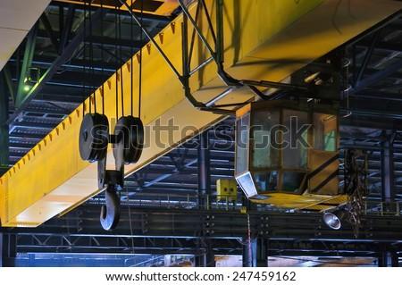 Crane gantry in steel plant - stock photo