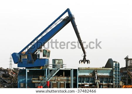 crane grabber on white isolate background - stock photo