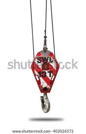 Crane hoist and hook with wire rope sling isolate on white background,clipping path - stock photo