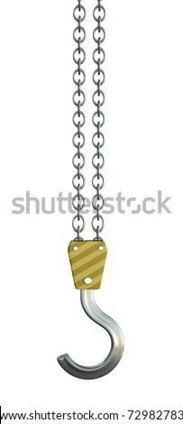 Crane hook isolated on a white background. - stock photo