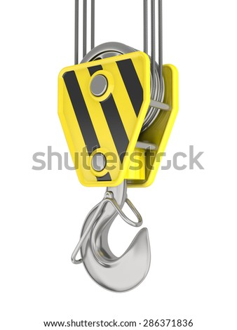Crane hook isolated on white. - stock photo