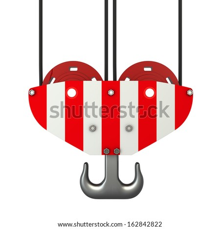 Crane hook. Isolated. white background. 3D - stock photo