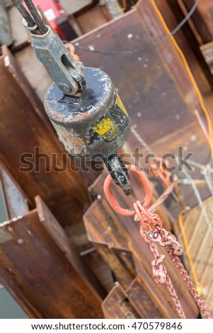 crane hook on a construction site