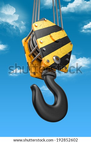 Crane hook on the sky background. 3d - stock photo