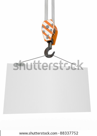 Crane hook with empty board on white isolated background. 3d - stock photo