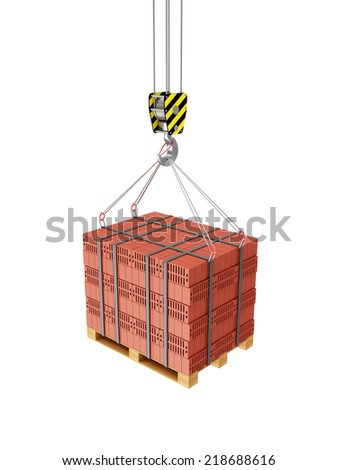 Crane Hook with Stacked Red Bricks on a wooden Pallet isolated on white background - stock photo