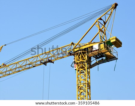 Crane in the sky background