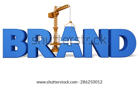 crane lifts a letter 3d image isolated on white background - stock photo