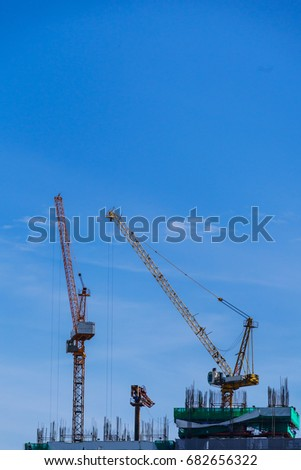 crane on the high tower in thailand