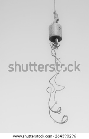 Crane sling under the blue sky, at a construction site, china - stock photo