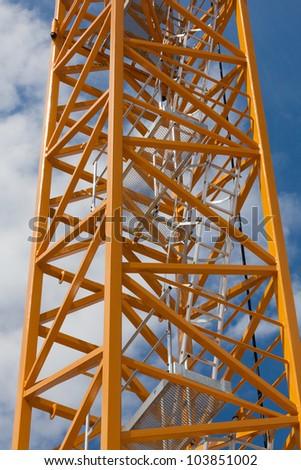 Crane stair frame on blue sky - stock photo