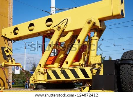 Crane tow truck  ready to work - stock photo