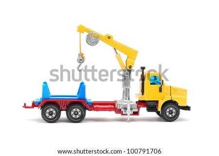 crane truck toy on white - stock photo