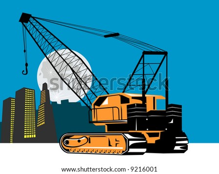 Crane with building and moon in the background - stock photo