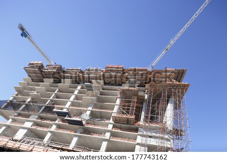 Cranes and building construction at Brickell Miami circa 2014 - stock photo