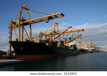 cranes and Ships - stock photo