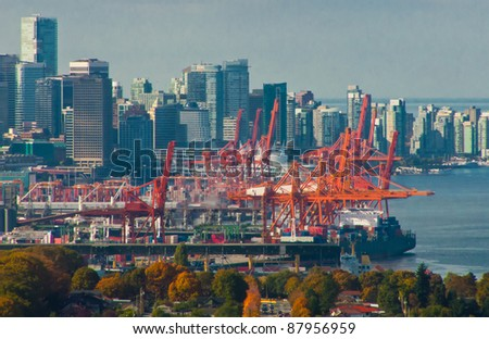 cranes at the container port terminal in Vancouver BC - stock photo