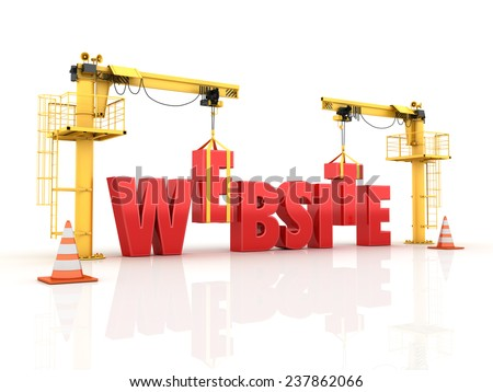 Cranes building the Website Word  High Quality 3D Render - stock photo
