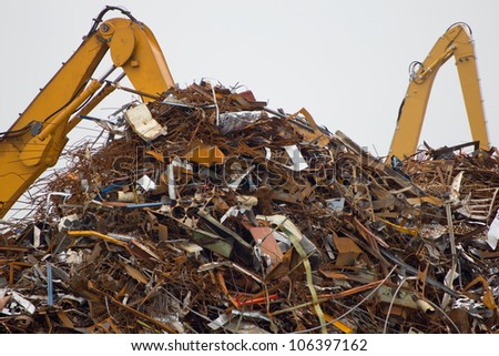 Cranes for recycling metallic waste - stock photo