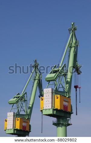 cranes in Bremerhaven harbour - stock photo