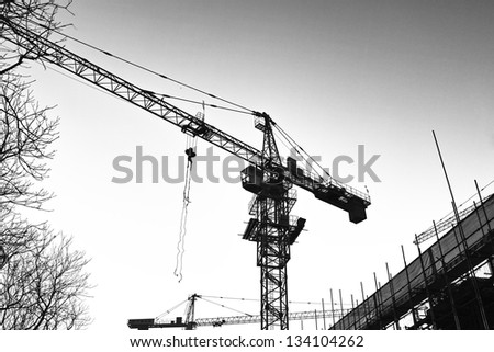 Cranes in the construction site (B&W)