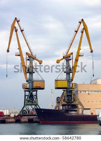 Cranes in the Sochi sea port - stock photo