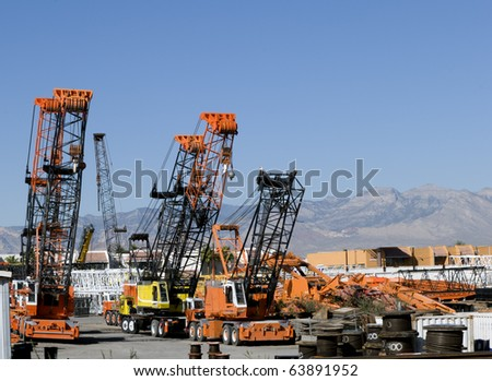 Cranes waiting for deployment - stock photo