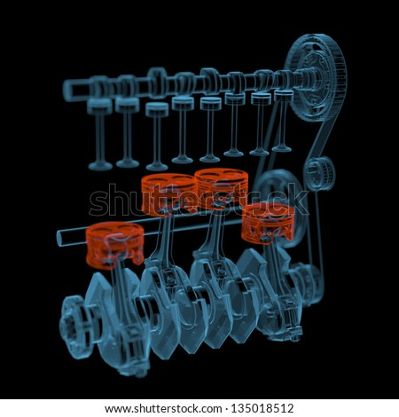 Crank shaft with pistons (3D xray red and blue transparent isolated on black background)