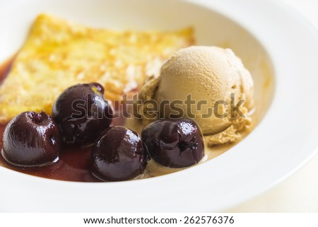 Crape and ice cream with blueberry - stock photo